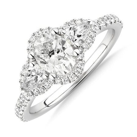 Sir Michael Hill Designer Three Stone Halo Engagement Ring with 1.26 Carat TW of Diamonds in 18ct White Gold