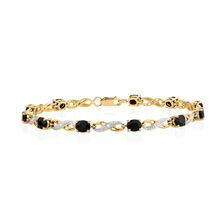 Bracelet with Sapphire & Diamonds in 10ct Yellow & White Gold