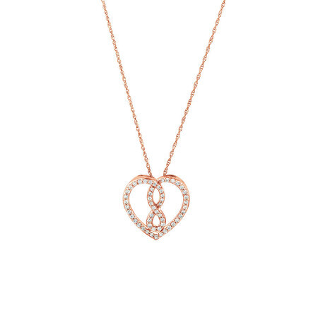Small Infinitas Pendant with 1/4 Carat TW of Diamonds in 10ct Rose Gold