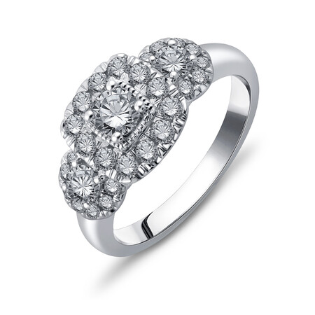 Three Stone Ring with 1.00 Carat TW of Diamonds in 10ct White Gold