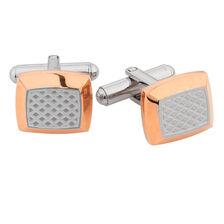 Online Exclusive - Cuff Links in Grey & Rose Tone Stainless Steel