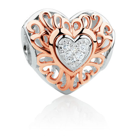 Diamond Set Heart Charm in 10ct Rose Gold & Sterling Silver