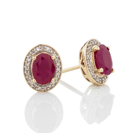 Earrings with Created Ruby & 0.20 Carat TW of Diamonds in 10ct Yellow Gold