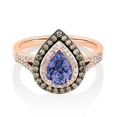 Ring with 0.50 Carat TW White & Brown Diamonds & Tanzanite in 10ct Rose Gold
