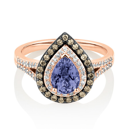 Ring with 0.50 Carat TW White & Brown Diamonds & Tanzanite in 10ct Rose Gold