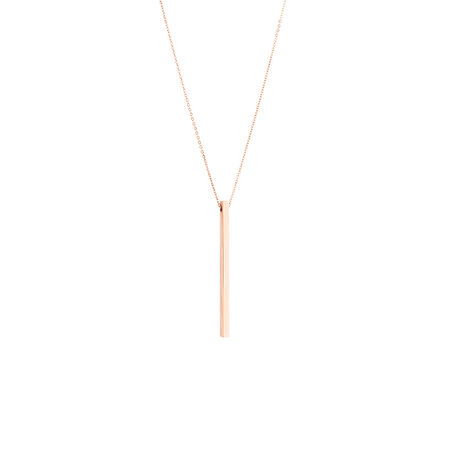 Vertical Bar Necklace In 10ct Rose Gold