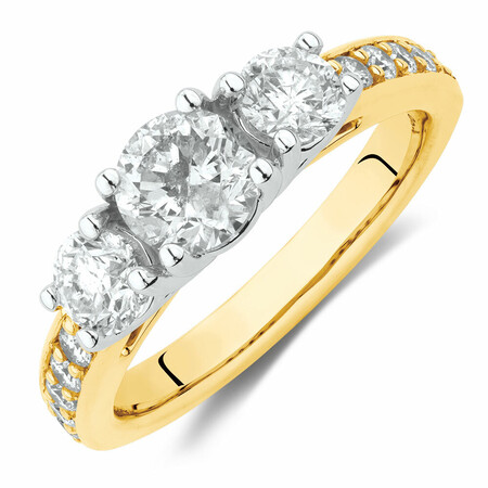 Engagement Ring with 1 1/2 Carat TW of Diamonds in 14ct Yellow & White Gold