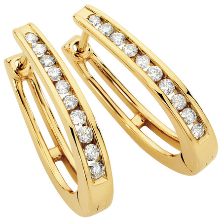 Hoop Earrings with 1/2 Carat TW of Diamonds in 10ct Yellow Gold