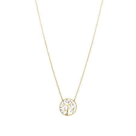 Tree of Life Necklace in 10ct Yellow & White Gold