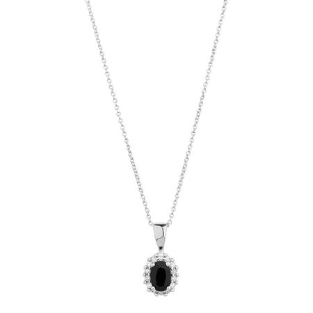 Online Exclusive - Pendant with Sapphire & Diamonds in 10ct White Gold