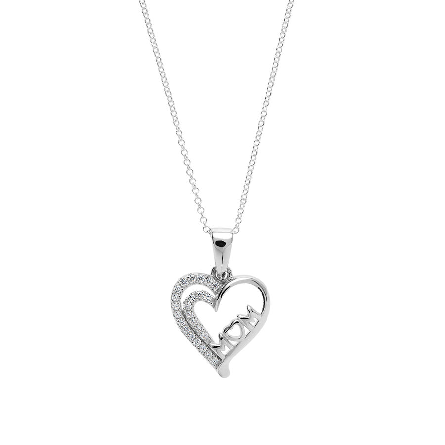 """""""Mum"""" Heart Pendant with White Cubic Zirconia in Sterling Silver"""