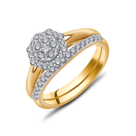 Bridal Set with 1/2 Carat TW of Diamonds in 10ct Yellow & White Gold