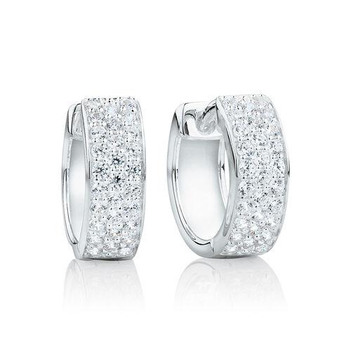 Reversible Huggie Earrings With Cubic Zirconia In Sterling Silver
