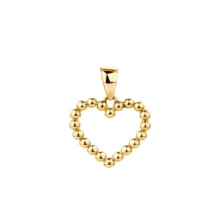 Bubble Heart Pendant in 10ct Yellow Gold