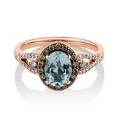 Ring with 0.50 Carat TW of Brown & White Diamonds & Aquamarine in 14ct Rose Gold