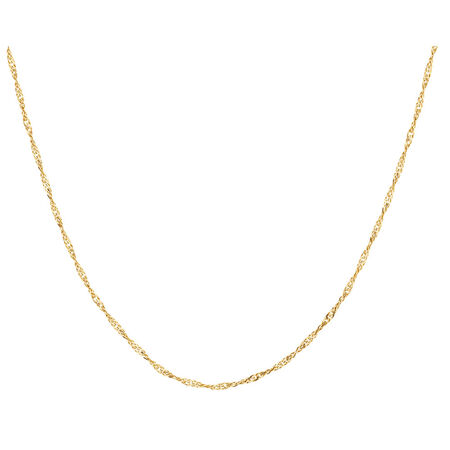 "45cm (18"") Singapore Chain in 10ct Yellow Gold"
