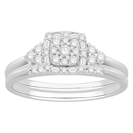 Bridal Set with 0.34 Carat TW of Diamonds in 10ct White Gold