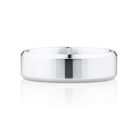 Flat Bevelled Wedding Band in 10ct White Gold