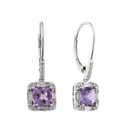 Online Exclusive - Earrings with Amethyst & 0.30 Carat TW of Diamonds in 10ct White Gold