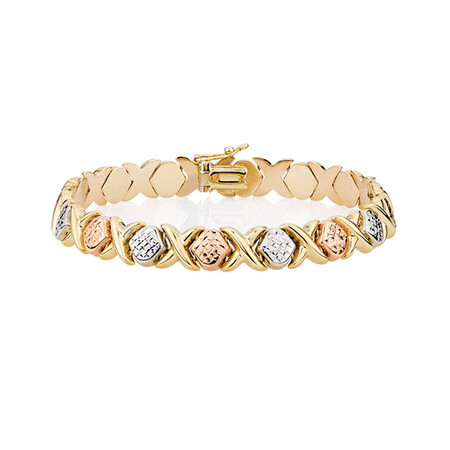 Bracelet in 10ct Yellow, White & Rose Gold
