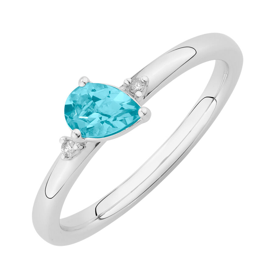 Stacker Ring with Diamonds & Blue Topaz in Sterling Silver