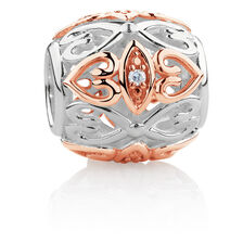 Diamond Set Barrel Charm in Sterling Silver & 10ct Rose Gold
