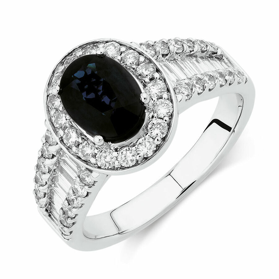 Ring with Sapphire & 1.05 Carat TW of Diamonds in 14ct White Gold