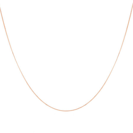 """55cm (22"""") Box Chain in 10ct Rose Gold"""