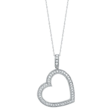 Online Exclusive - Heart Pendant with 0.35 Carat TW of Diamonds in 10ct White Gold