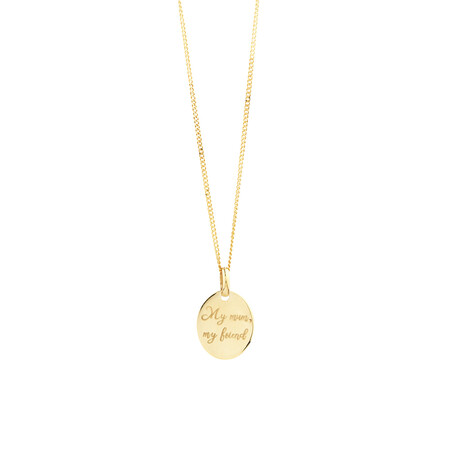 Engraved Oval Disc Pendant in 10ct Yellow Gold
