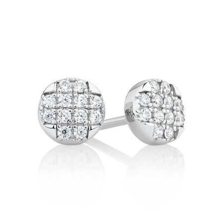 Round Stud Earrings with Luxe Cubic Zirconia in Sterling Silver