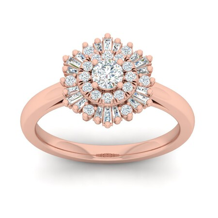 Cluster Ring with 0.60 Carat TW of Diamonds in 10ct Rose Gold