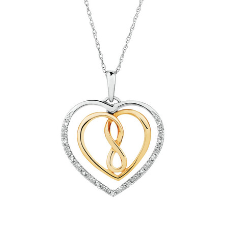 Infinitas Pendant with Diamonds in 10ct Yellow Gold & Sterling Silver