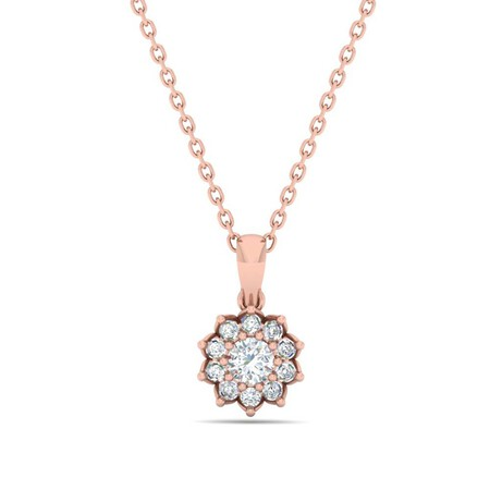 Cluster Pendant with 0.38 Carat TW of Diamonds in 10ct Rose Gold