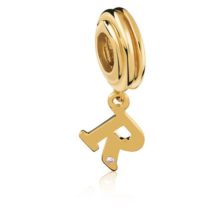 Diamond Set & 10ct Yellow Gold 'R' Charm