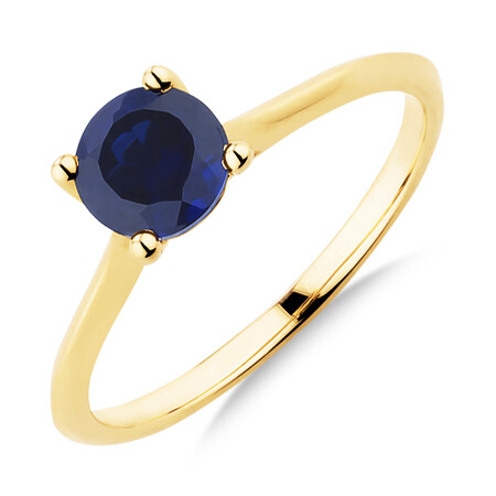 Ring with Created Sapphire in 10ct Yellow Gold