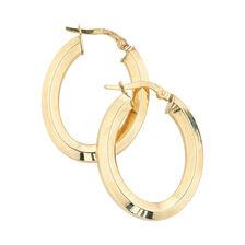 Online Exclusive - Oval Hoop Earrings in 10ct Yellow Gold