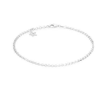 """26cm (10.5"""") Star Anklet with Cubic Zirconia in Sterling Silver"""