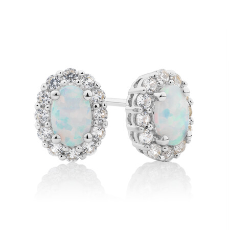 Stud Earrings with Created Opal & Created White Sapphire in Sterling Silver