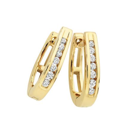 Hoop Earrings with 0.15 Carat TW of Diamonds in 10ct Yellow Gold