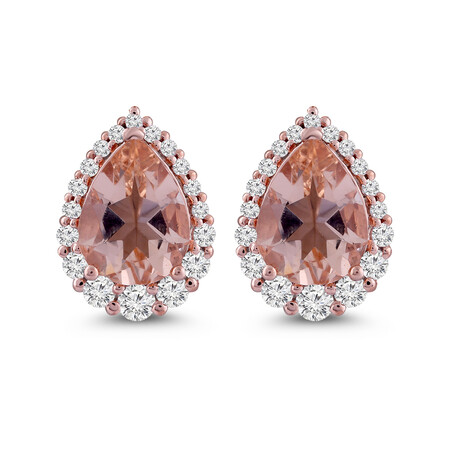 Earring with Natural Morganite & 0.25 Carat TW of Diamonds in 10ct Rose Gold