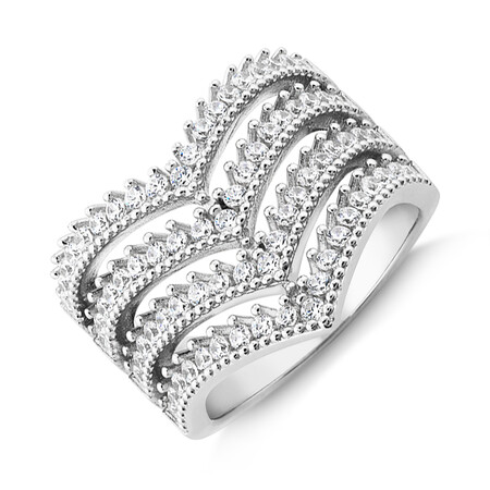 4 Row Chevron Ring with Cubic Zirconia in Sterling Silver