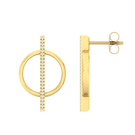 Circle Bar Stud Earrings with Diamonds in 10ct Yellow Gold