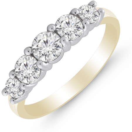 Five Stone Ring with 1.00 Carat TW of Diamonds in 14ct Yellow & White Gold