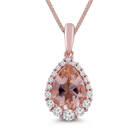Pendant with Morganite and 0.20 Carat TW of Diamonds in 10ct Rose Gold