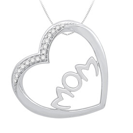 """Mom"" Heart Pendant with Diamonds in Sterling Silver"