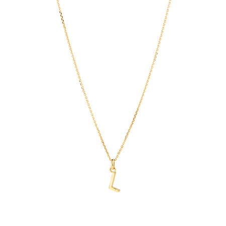 """""""L"""" Initial Pendant with Chain in 10ct Yellow Gold"""