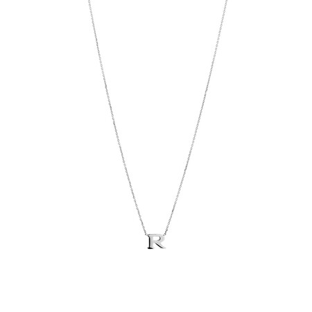 """""""R"""" Initial Necklace in Sterling Silver"""