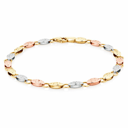 Fancy Bracelet in 10ct Yellow, White & Rose Gold