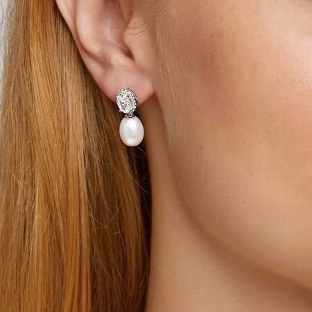 Earrings with Cultured Freshwater Pearl & Cubic Zirconia in Sterling Silver